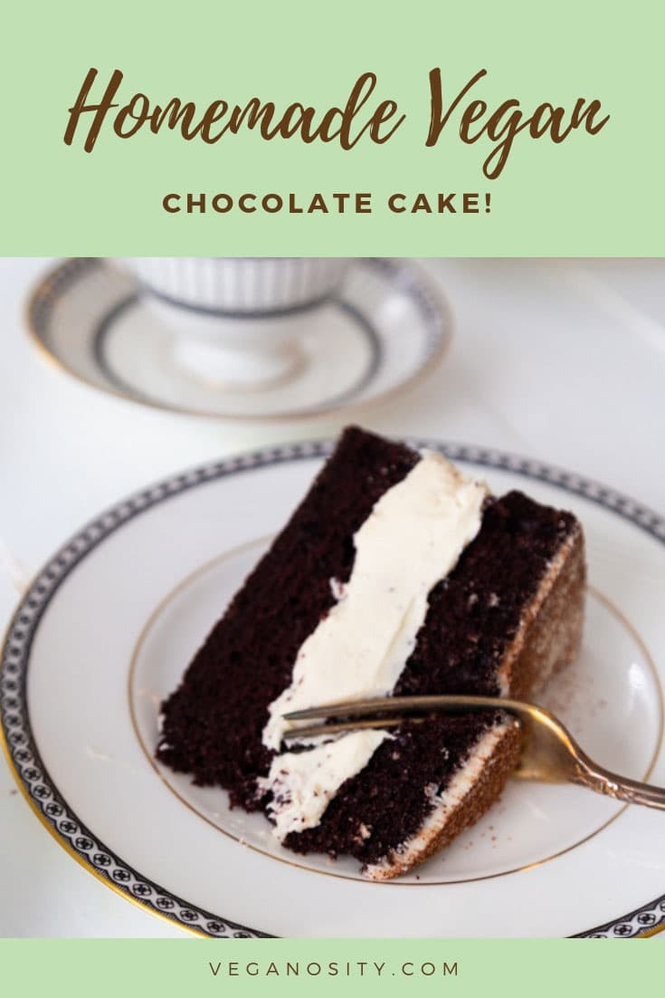 Dairy and egg-free vegan chocolate cake from scratch! It doesn't get any better than this! #vegancake #chocolatecake