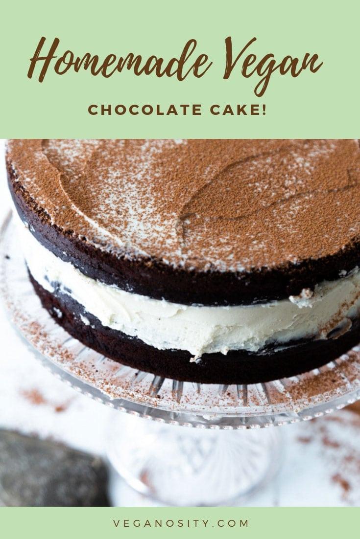 Homemade dairy-free & egg-free chocolate cake! Easy to make! #vegancake #chocolatecake