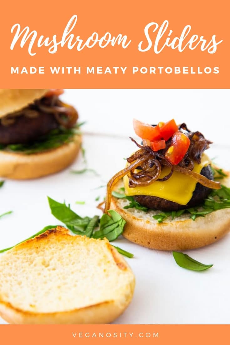Meaty, easy and delicious Portobello mushroom sliders. Perfect for a party! #sliders #mushroom