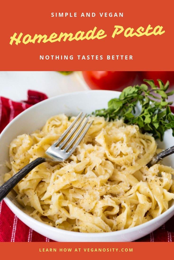 3 ingredient homemade pasta! So easy and delicious! #veganpasta #homemade #pasta