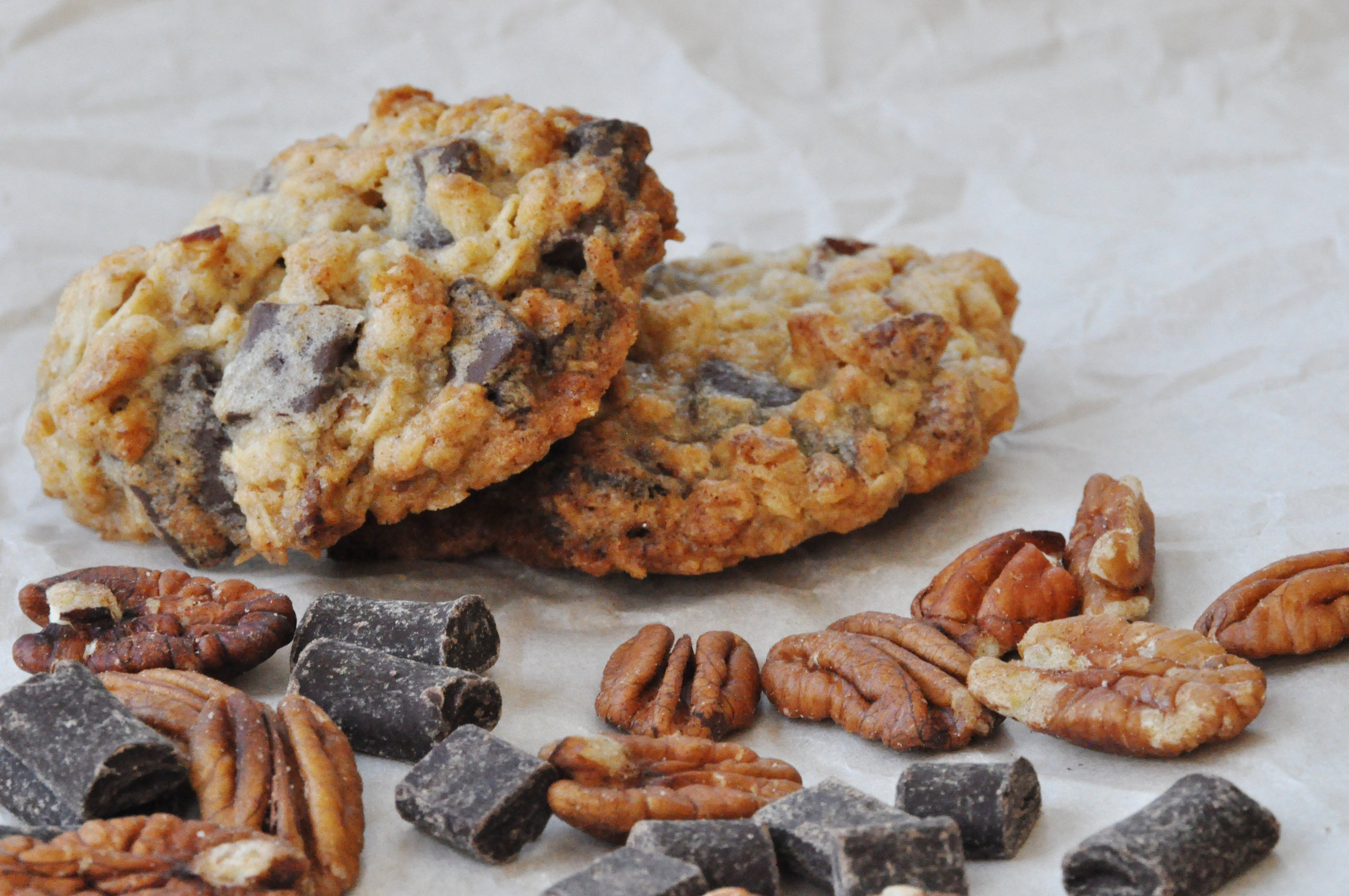 Oatmeal Walnut Cocoa Nib Cookies Recipe — Dishmaps