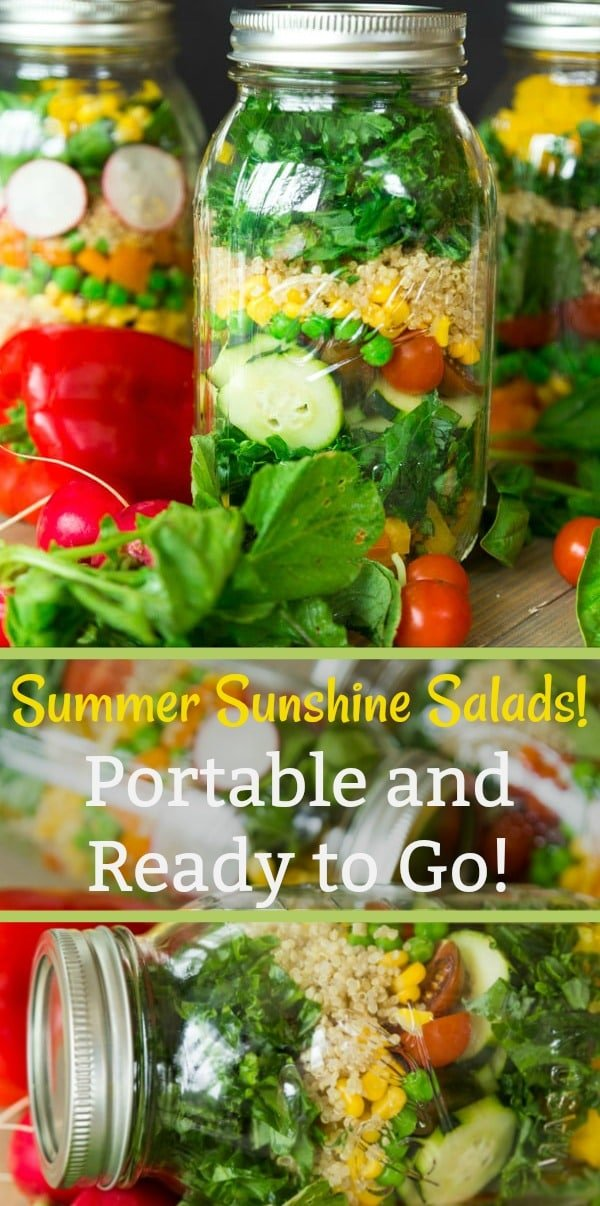 Make a colorful salad of mixed vegetables and put it in a mason jar for portability! #healthysalad #masonjarsalad #summerrecipe