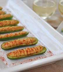 Cucumber Boats with Spicy Hummus