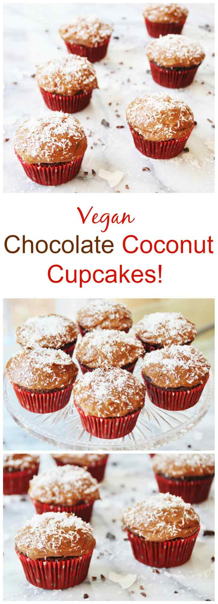 Vegan Chocolate Coconut Cupcakes! So tender and light with a creamy rich chocolate coconut frosting. www.veganosity.com