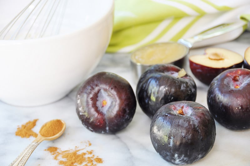 Vegan Plum Tart! This vegan plum tart recipe is as much fun to make as it is to eat. Beautiful seasonal black plums and a savory cake batter come together in this gorgeous fall dessert. My family loves it! www.veganosity.com