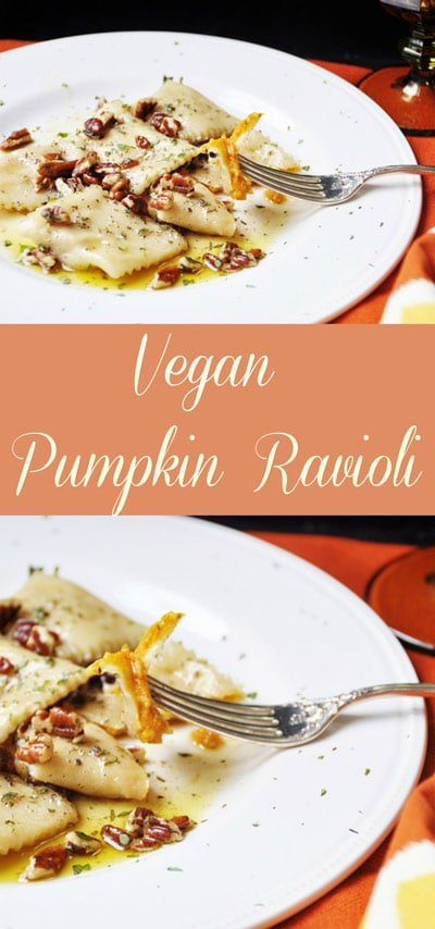 Vegan Pumpkin Ravioli! This vegan pumpkin ravioli recipe is made with real pumpkin and savory spices. It's one of my family's favorites! www.veganosity.com