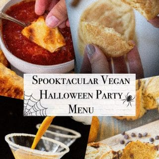 vegan halloween party menu cover with pumpkin spice martini, pumpkin swirl bread, pizza rolls, and snickerdoodle cookies