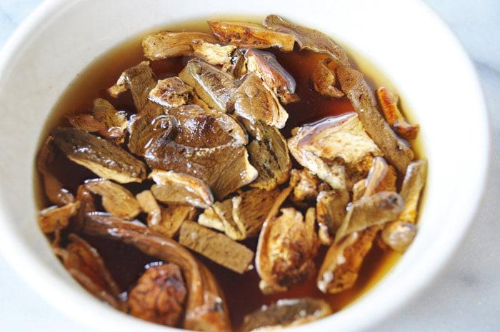 Soaking Dried Porcini Mushrooms
