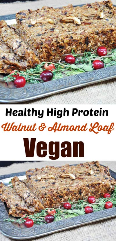 Vegan Walnut and Almond Loaf! This high protein, delicious nut loaf recipe is easy to make and the perfect centerpiece for your holiday dinner. My husband and kids love this and ask me to make it throughout the year. www.veganosity.com