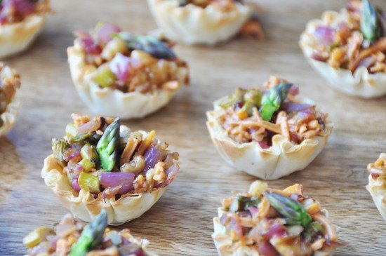 Vegan Caramelized Onion and Asparagus Cups