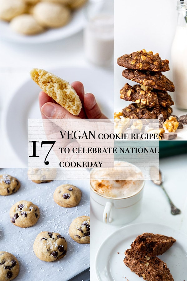 cookie roundup title with chocolate chip cookies, sugar cookies, biscotti, and double chocolate nut cookies all vegan
