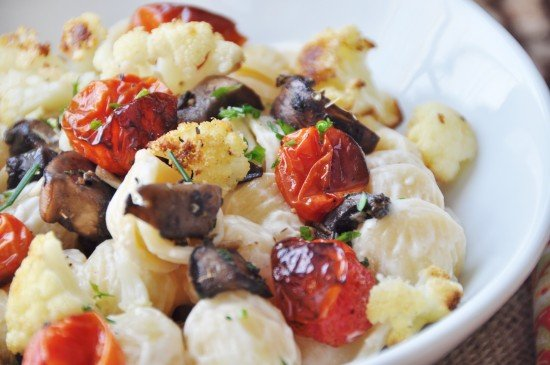 ... Orecchiette with Roasted Cauliflower, Tomatoes, and Mushroom Bacon