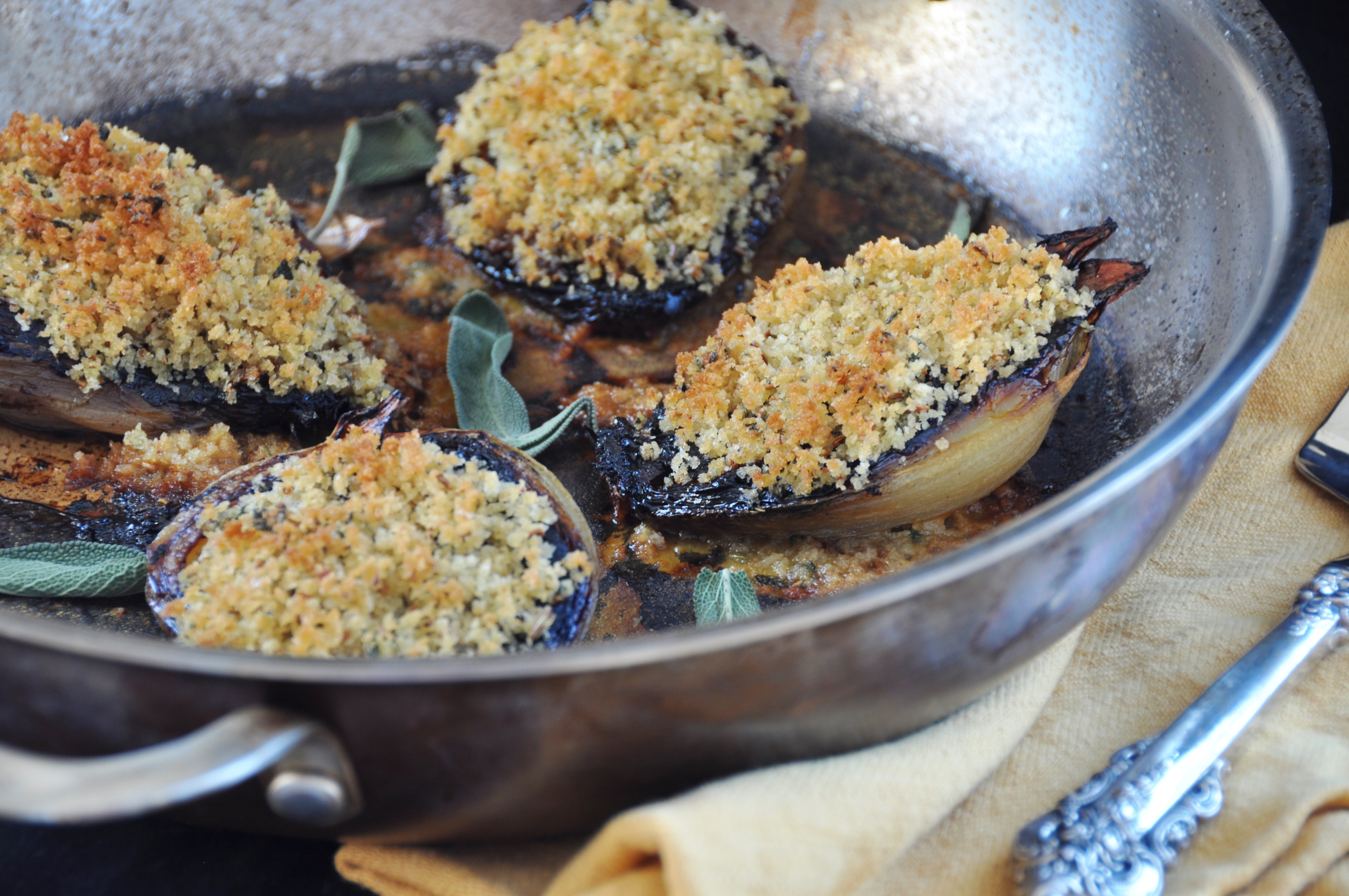 ... baked onions with fennel bread crumbs. This is total comfort food