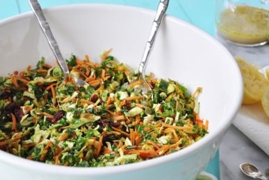 Brussels Sprout, Kale, and Carrot Slaw