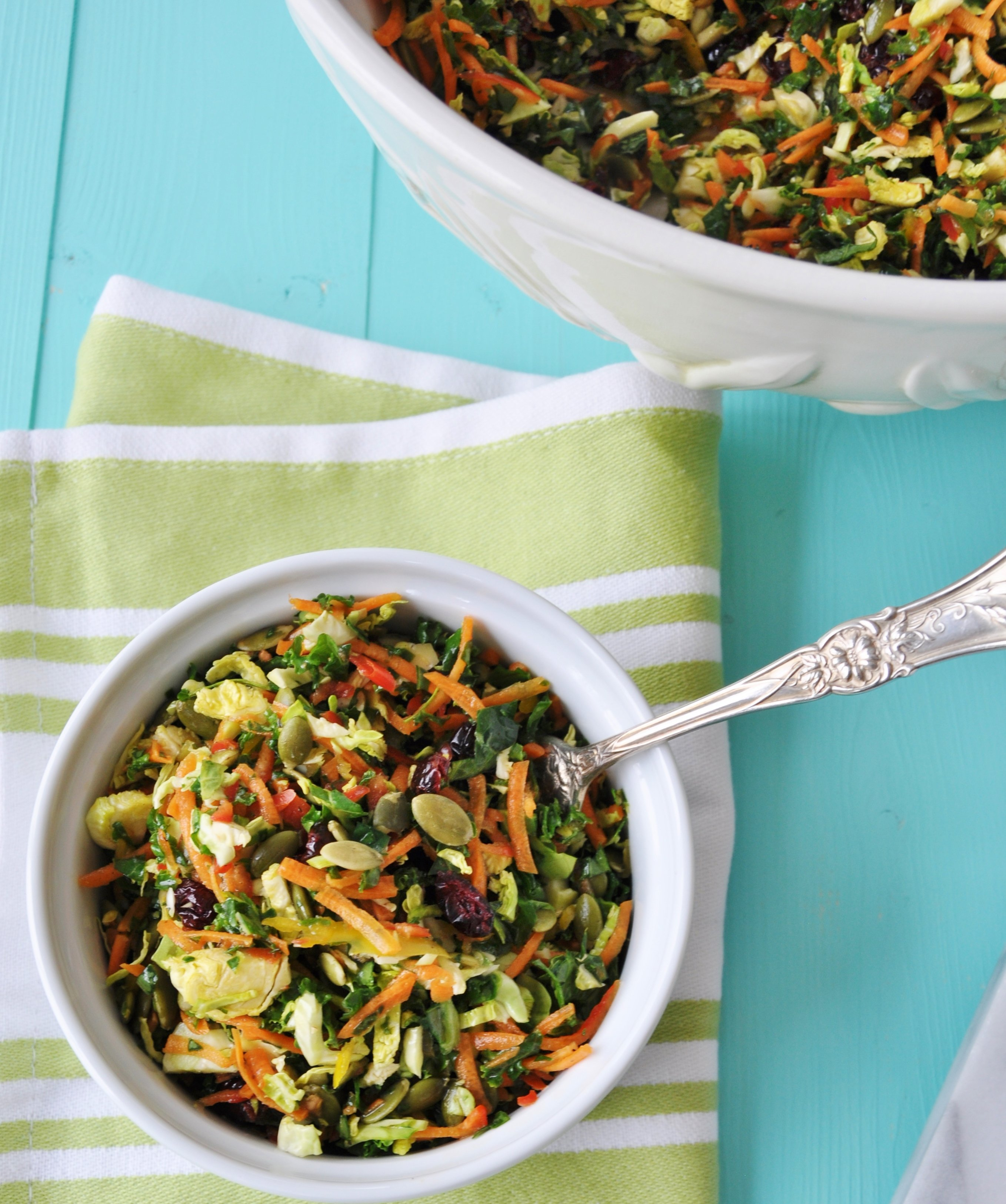 Brussels Sprouts, Kale, and Carrot Slaw - Veganosity
