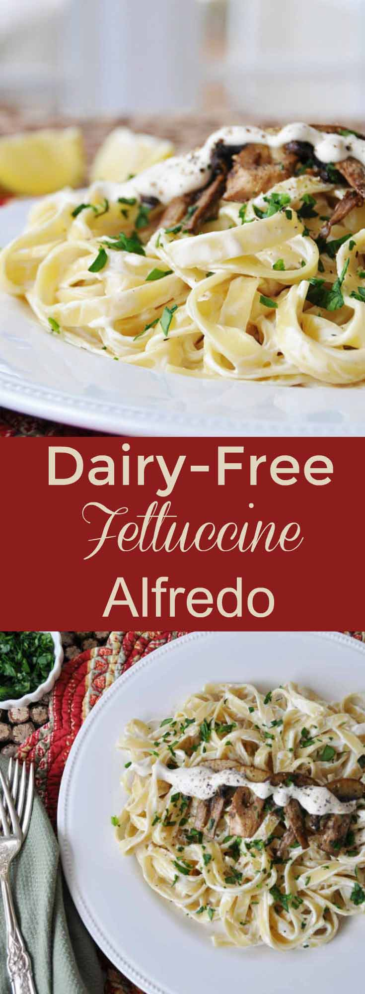 Rich and creamy dairy-free vegan fettuccine Alfredo recipe! This will make non-vegans swoon and ask for seconds! www.veganosity.com
