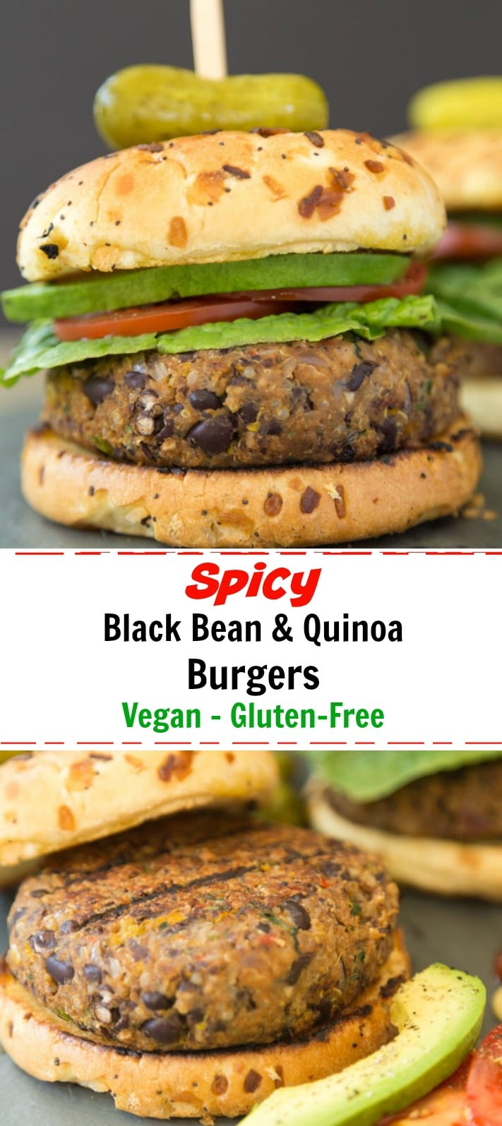 Spicy black bean burgers with quinoa and veggies that don't fall apart on the grill! Perfect for summer grilling season. #vegan #burger #black bean # quinoa