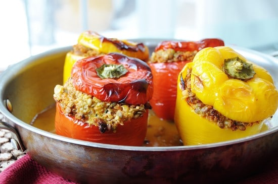 Vegan Lentil Quinoa and Vegetable Stuffed Peppers
