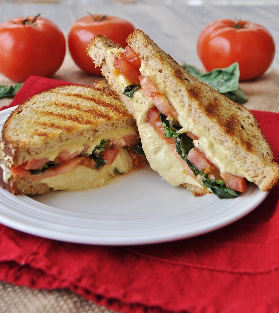 Vegan Tomato Basil Grilled Cheese Sandwich