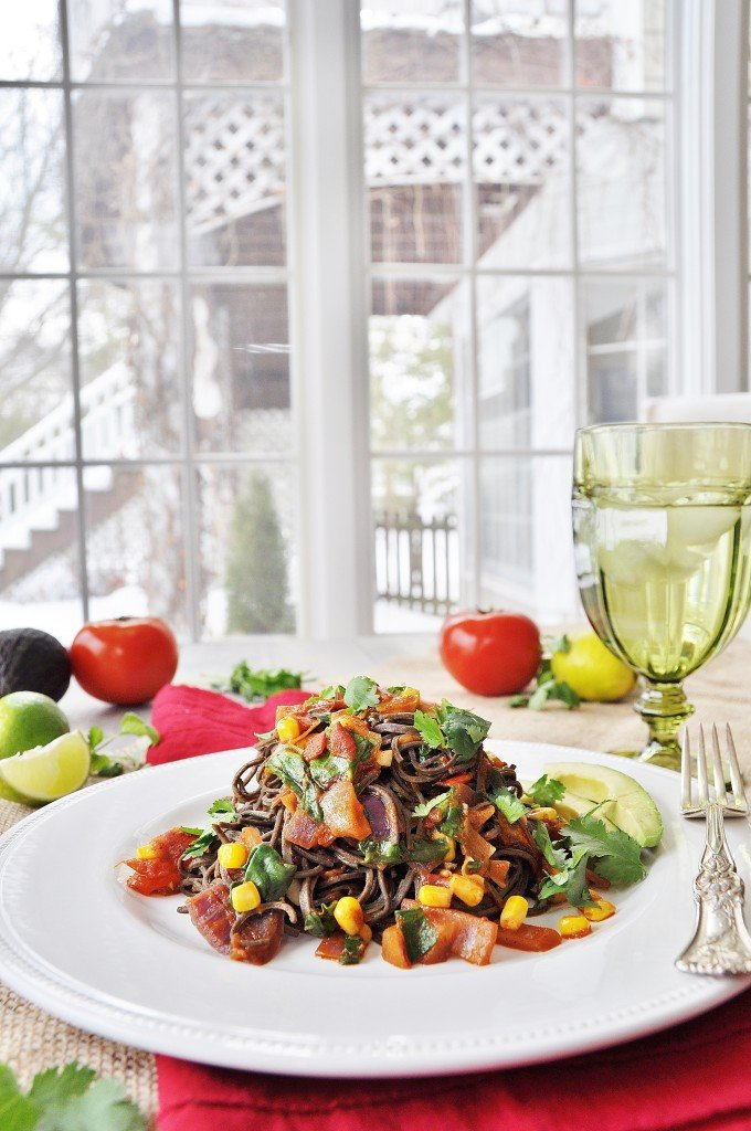 Mexican Black Bean Spaghetti
