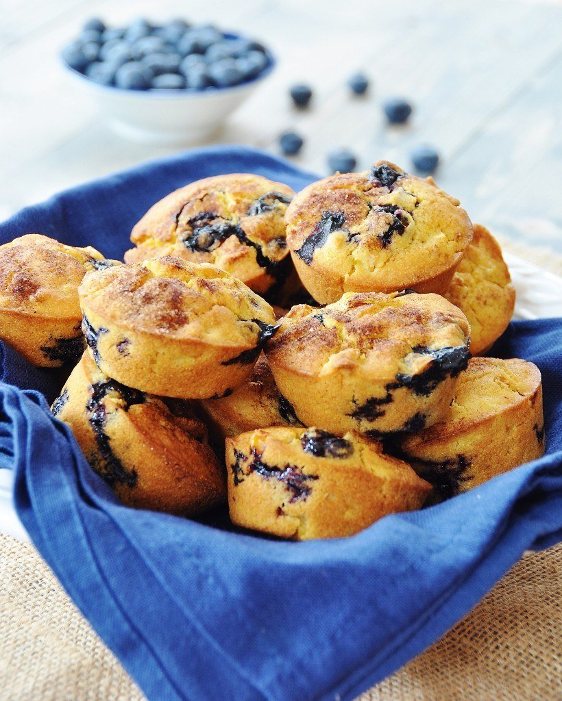 Crispy Vegan Corn and Blueberry Muffins - Veganosity