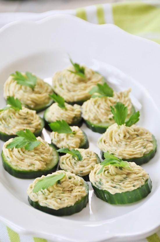 Cannellini Bean Dip on Cucumber Chips for Thanksgiving