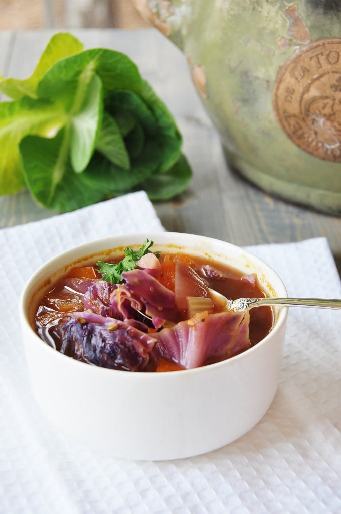 Red Cabbage and Green Lentil Soup