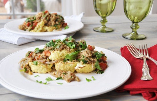 Roasted Cauliflower Steaks with Spicy Quinoa