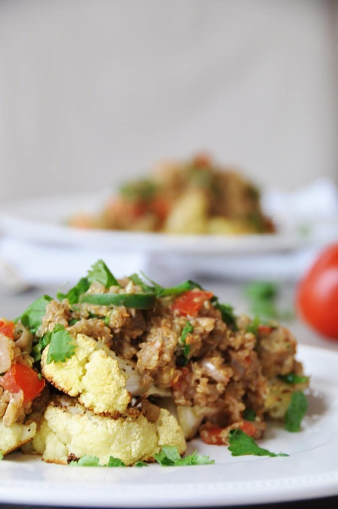 Roasted Cauliflower Steaks with Spicy Thai Quinoa