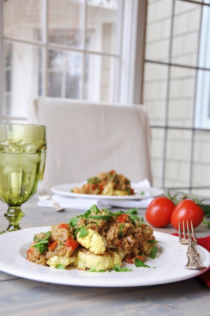 Roasted Cauliflower Steaks with Spicy Thai Quinoa