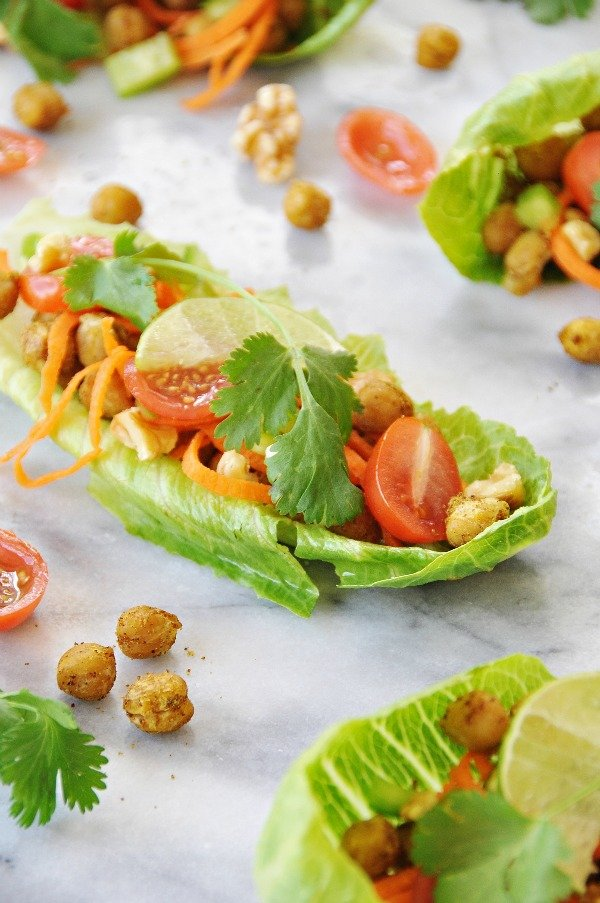 Spicy Roasted Chickpea Lettuce Wraps