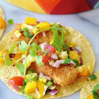 "Beer Battered ""Fish"" Tacos with Mango Salsa"