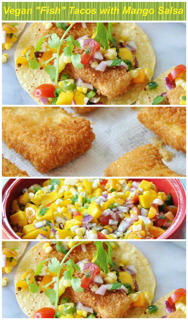 A Pinterest pin for vegan fish tacos with 3 pictures of the tacos.