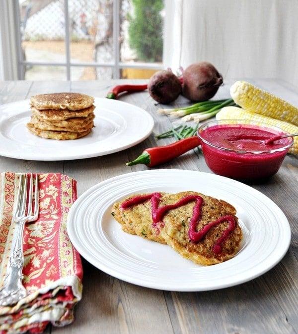 Vegan Savory Zucchini and Corn Pancakes