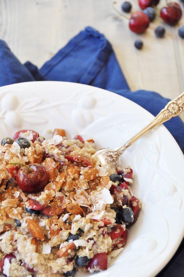 Cherry Berry Quinoa Breakfast Bowl