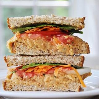 Mediterranean Sandwich with Oil-Free Spicy Hummus