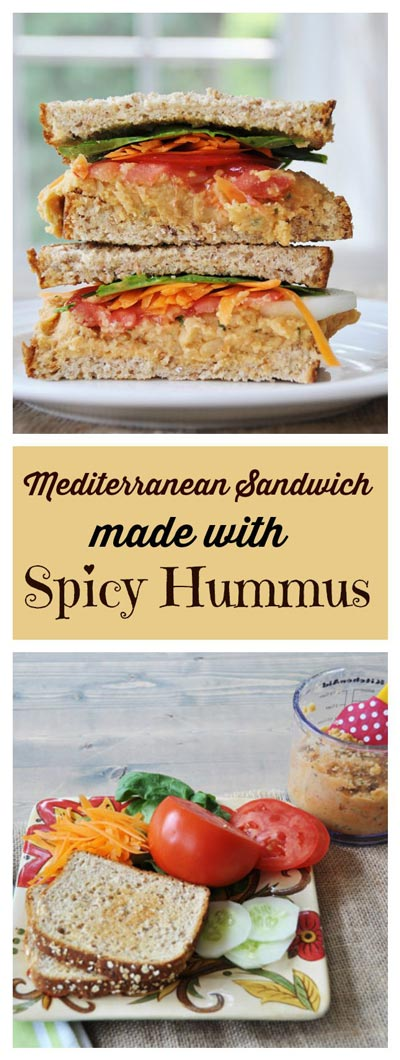 Mediterranean Sandwich with Spicy Hummus