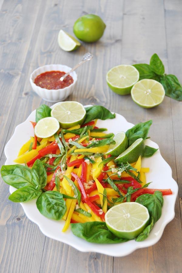 Thai Mango Salad With Ginger Lime Dressing Veganosity