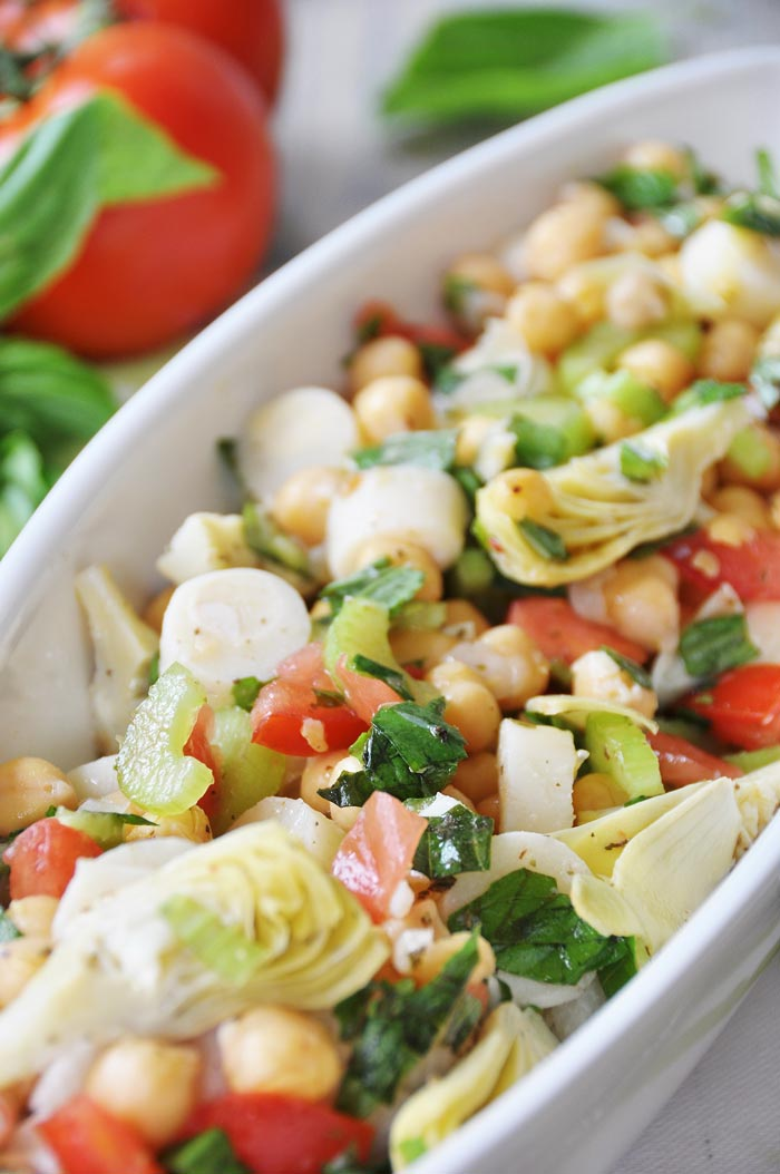 Chickpea Salad with Artichoke Hearts & Hearts of Palm