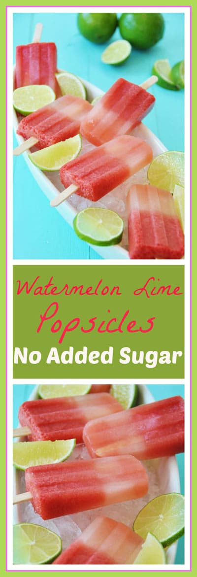 Watermelon Lime Popsicles - No Sug