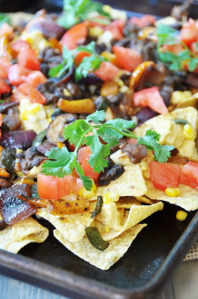 Loaded Vegan Nachos with Black Beans & Savory Veggies