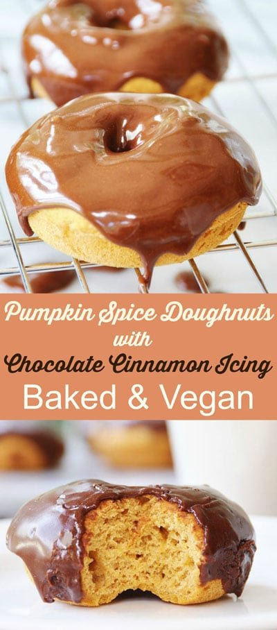 Baked Vegan Pumpkin Spice Doughnuts with Chocolate ...
