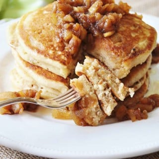 Old Fashioned Fluffy Vegan Pancakes with Apple Spice Compote