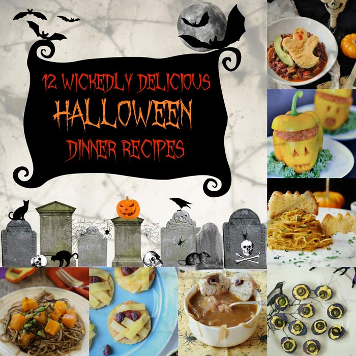 12 Wickedly Delicious Halloween Vegan Dinner Recipes that will help you treat your family to something healthy, festive, and fun before eating all of that candy. www,veganosity.com