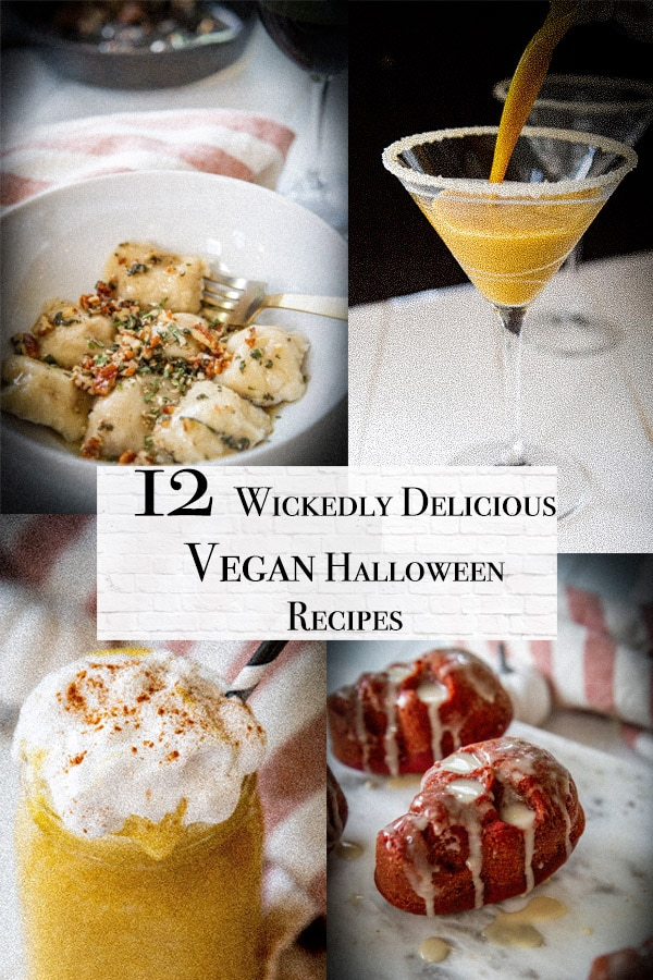 vegan halloween recipes cover with pumpkin pie smoothies, pumpkin martinis, red velvet skull cakes, and pumpkin ravioli