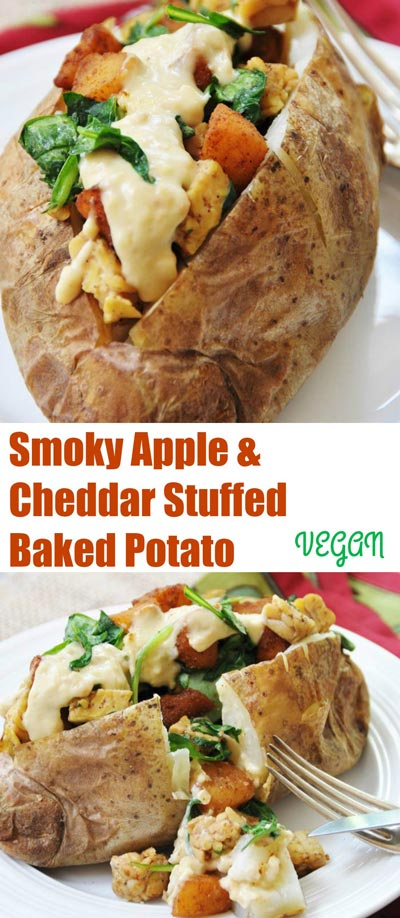 "Smoky Apple & ""Cheddar"" Stuffed Baked Potato! This vegan recipe will make even the biggest carnivore happy. Cashew cheese sauce tastes like cheddar, smoky sauteed apples and crispy smoky tempeh, plus healthy wilted spinach, all stuffed into a giant baked potato. www.veganosity.com"
