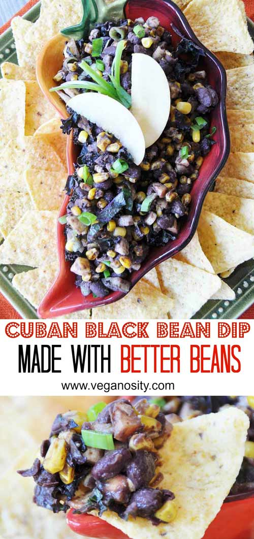 Cuban Black Bean Dip with Roasted Corn, Apples, and Kale! The Cuban black beans are from the Better Bean Company. This dip recipe is so healthy, delicious, and easy to make.. It's sure to become your go to appetizer. www.veganosity.com