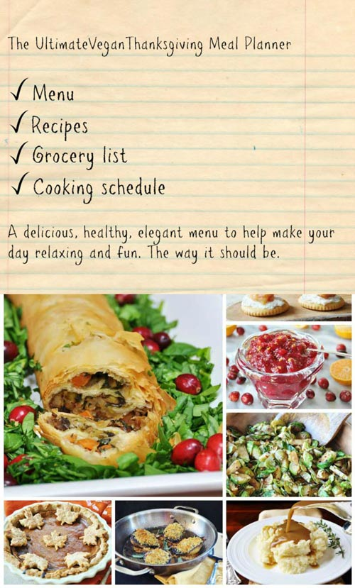 The Ultimate Thanksgiving Meal Planner with a Grocery List! Choose one, two, or three entree recipes along with four sides and a vegan pumpkin pie to die for. There's a shopping list and we'll help you plan your entire meal from beginning to end. www.veganosity.com