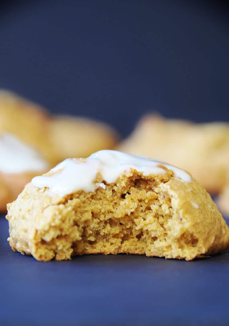 Vegan Pumpkin Spice Cookie Recipe! These egg free, dairy free, cookies are made with real pumpkin and savory spices. Perfect for breakfast, with tea, or for dessert. My husband can't stop eating them. www.veganosity.com