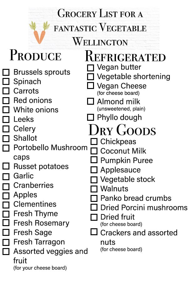 grocery list for a vegetable wellington dinner